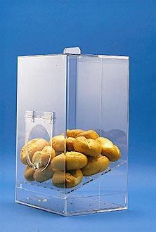 Lebensmittelbehälter aus Plastik mit Verschlussklappe