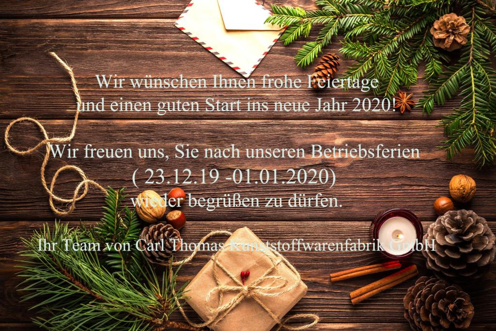 Pop-up zur Information über die Schließung des Betriebs über die Feiertage vom 23.12.2019 bis zum 01.01.2020 - mit weihnachtlichem Hintergrund.